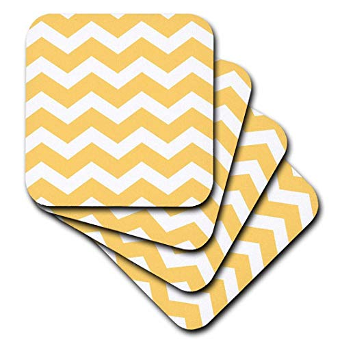 3dRose Yellow Chevron Zig Zag Pattern - Bold Mustard and White Zigzags - Ceramic Tile Coasters, Set of 4 (CST_179668_3)