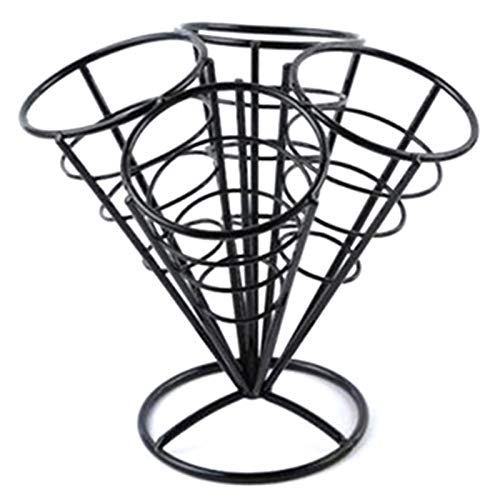 (SODIAL 4In1 French Fry Stand Cone Basket Holder Black Iron Rack Ice Cream Shape Food Shelves Bowl Kitchen Potato Fries Chips Appetizers Black)