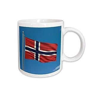 3dRose Flag of Norway on a Flag Pole with Blue Sky Norwegian Ceramic Mug, 15-Ounce