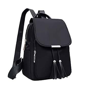 Qyoubi Women's Black Fashion Backpack Casual Daypacks Tassel Waterproof Anti-theft Girls Multipurpose Travel Bag