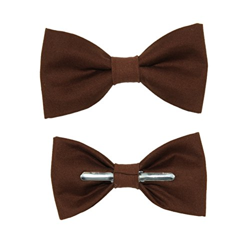 Toddler Boy 3T 4T Chocolate Brown Clip On Cotton Bow Tie Bowtie
