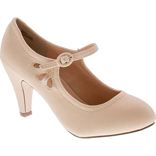 Chase & Chloe Kimmy-21 Women's Round Toe Pierced Mid Heel Mary Jane Style Dress Pumps,Nude - Nude Women Round