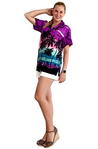 Original King Kameha | Funky Camisa Hawaiana | Mujeres | XS - 6XL | Manga Corta | Bolsillo Delantero | impresión De Hawaii | Playa |diferentes colores Violeta