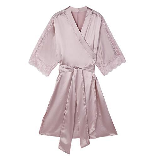 (Women's Lace Nightdress Robe Bathrobe Sexy Pajamas Underwear Lingerie Sleepwear Pink)