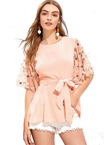 Milumia Women Mesh Floral Applique Sleeve Belted Elegant Blouse Tops Pink ()