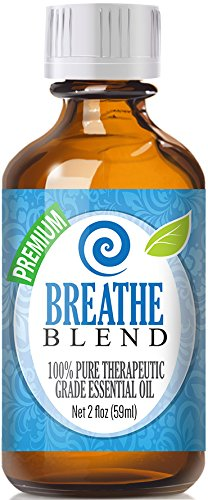 Breathe Blend 100% Pure, Best Therapeutic Grade Essential Oil - 60ml / 2 (oz) Ounces - Comparable to DoTerra's Breathe & Young Living's Raven Blend - Peppermint, Eucalyptus, Lemon, Tea Tree, Ravensara