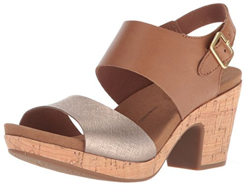 Rockport Women's Vivianne 2 Part Heeled Sandal, tan Multi, 8 M US