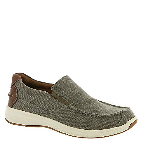 Florsheim Men's Great Lakes Canvas Moc Toe Slip-On Gray Canvas W/Brown Crazy Horse 9 EEE US Brown Crazy Horse Footwear