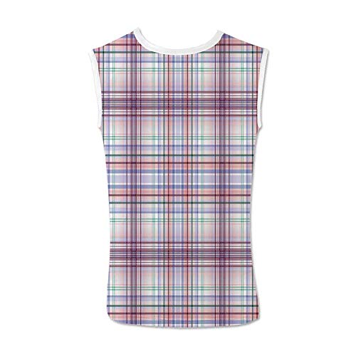 Checkered Comfortable Tank Top,Thin Geometric Strips Retro Folkloric Irish Cultural Design Decorative for Men,L