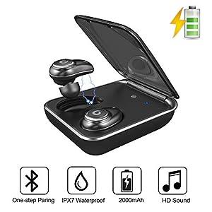 Wireless Earbuds GUSGU Ture Wireless Earphones Bluetooth 5.0 Auto Pairing IPX7 Waterproof Bluetooth Earbuds TWS Stereo Wireless Stereo Headphones (Buit-in Mic, 60 Hours Playtime, Deep Bass)