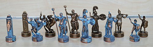 Copper Chess (Manopoulos Greek Mythology Chess Set - Blue-Copper - Handmade in Greece)