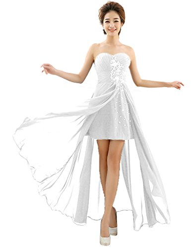 Women's White Dresses Long Sexy Evening Chiffon Wedding Beaded Prom BessWedding a4ZdqwZ
