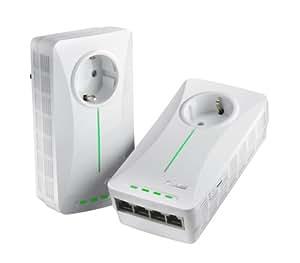 Asus PL-X52P - Adaptador Powerline (500Mbit/s, 4 puertos, 2 unidades), color blanco