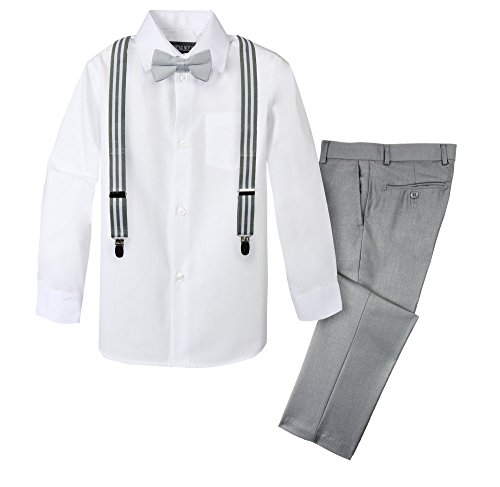 Spring Notion Boys' 4-Piece Suspender Outfit 20 Light Grey/Stripes Grey White]()