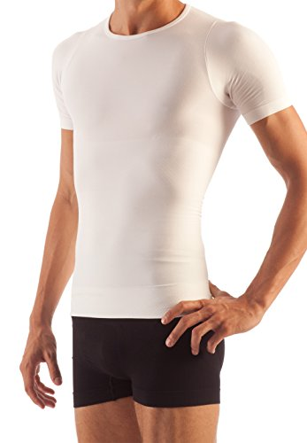 Farmacell Control - FarmaCell 419 (White, S) Men's Short Sleeve Tummy Control Body Shaping T-Shirt