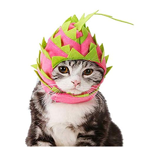 Hotumn Pet Dragon Fruit Dog Funny Hat Cat Hooded Halloween Costume Breathable Cap for Dog Birthday and Party (S)]()