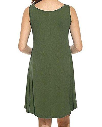 Col Tunique Fille Coton Casual Robe Femme Lache Arme Manches Courte Auxo De Vert Sexy Rond Et Plage sans Mini wO0nz