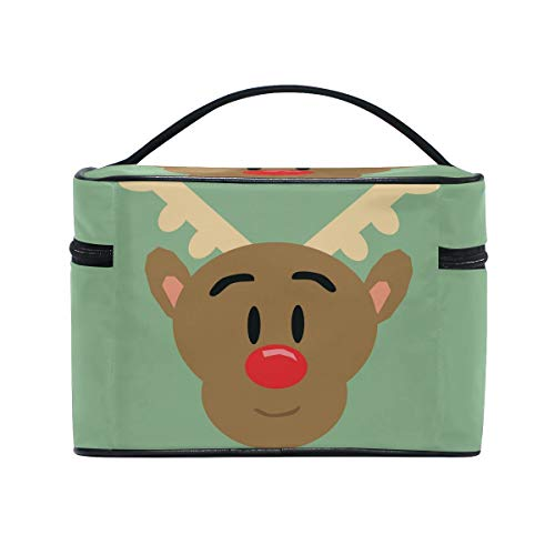 Reindeer Face Cosmetic Bags Organizer- Travel Makeup Pouch Ladies Toiletry Train Case for Women Girls, CoTime Black Zipper and Flat Bottom]()