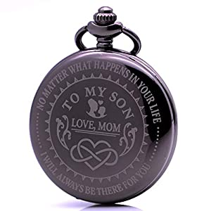Vintage Men's Quartz Pocket Watch with Chain & Gift Box Christmas Birthday Xmas Gift …