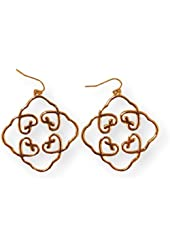 Fashion Earrings Dangle Diamond Shape Filigree Gold Tone Metal