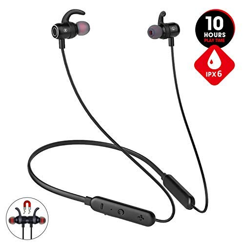 [Newest 2019]Wireless Bluetooth Headphones for Workout Gym Running,10hrs Playtime Neckband Wireless Sport Earbuds,JT SOUND Magnetic Earphones w/Mic,IPX6 Waterproof Headphones for iOS Android(Upgraded) (Best Sound Headphones For Mobile)