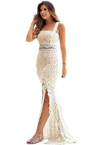 Vestido de mujer con 2 piezas, color blanco y transparente, con encaje, falda