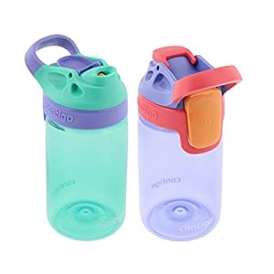 Contigo Kids Autoseal Gizmo Water Bottle, 14oz (Persian Green/Lavender) - 2 pk