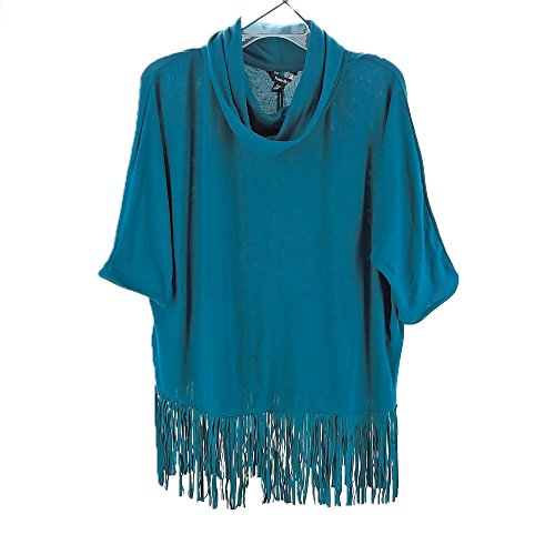 TERRE Bleue Womens Hacci Fringe Cowl Neck Sweater (Everland Teal, XXL)