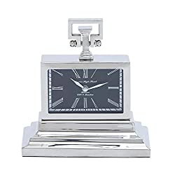 Deco 79 Metal Nickel Table Clock, 10 by 9-Inch