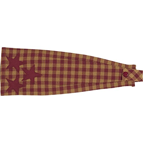 VHC Brands Primitive Tabletop Cody Burgundy Fabric Loop Cotton Appliqued Star Kitchen Towel, King, Red