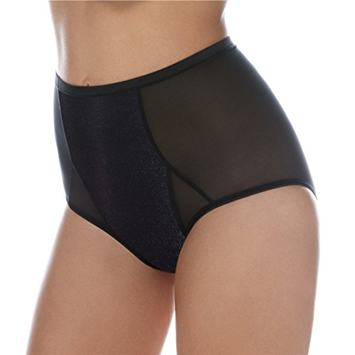 High Waist Panty In Fine Stretch Control Mesh – Smooth and Contours – Shimmering Black Organza (Fine Mesh Boyshort)