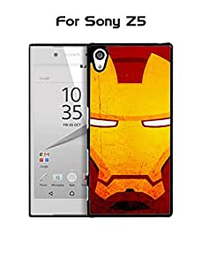 Sony Z5 Funda Case Marvel Comics Iron Man Face Plastic Anti Scratch Vintage Drop Proof Customized Compatible with Sony Xperia Z5 (Not for Z5 Compact)