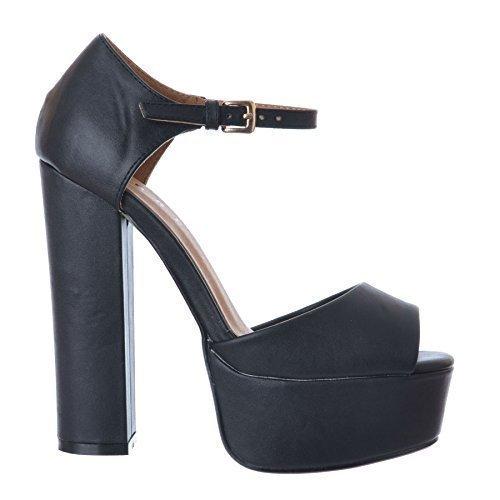 OR CLOTHING similicuir CHAUSSURES BLOC EFFET OUTOFGAS NOIR BOUCLE SANDALES CHUNKY PEEP SIMILI PLATEAU TAILLE TOE noir 3 OA0awq
