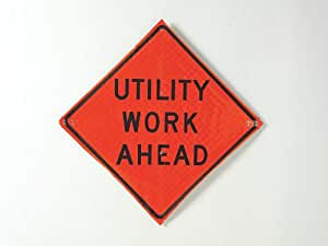 Usa-sign - C/36-SBFO-3FH-HD UTIL WORK AHEAD - Road Traffic Control, No Header, Vinyl, 36 x 36
