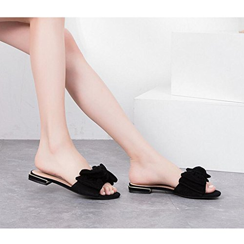 Toe Summer xy Color Zapatillas 5 Pink Tamaño Leisure De Round Open Daily Moda 5 CN37 Head Mujer Bottom Black Zapatillas UK4 EU37 Flat Flowers qrq5X