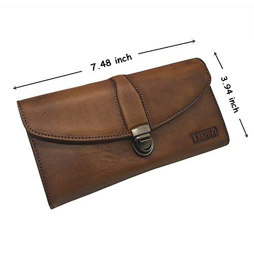 Women's Ladies Large Capacity Handmade Dip Dye Genuine Leather Wallet Card Holder Purse (923Brown)