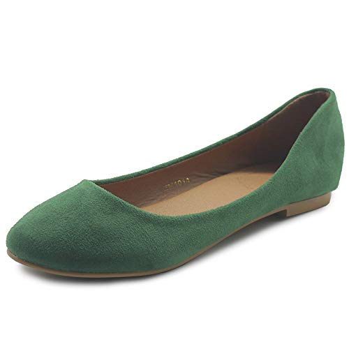 Ollio Womens Shoe Ballet Light Faux Suede Low Heels Flat ZM1014(8 B(M) US, Green)