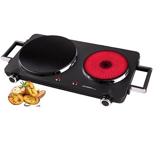 2500 Watt Infrarot-Kochplatte mit 22cm und 16cm Kochfeld | jedes Kochgeschirr geeignet | 300°C in 30 Sekunden | Griffe demontierbar | Doppelkochplatte