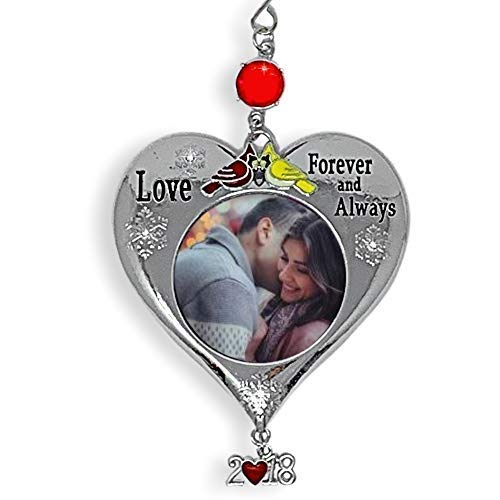 - BANBERRY DESIGNS Christmas Picture Ornament - Heart Shaped Love Always and Forever - Cardinal Pair Design - 2018 Dated Charm
