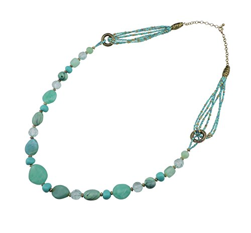 Bocar Antique Gold Long Blue Green Seed Beads Necklace Single Strand Women Gift (349)