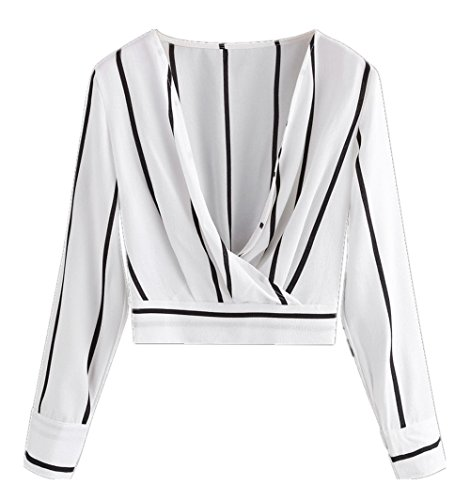 Cotton Stripe Wrap Top (GAMISS Womens Sexy Deep V Neck Front Crossed Stripes Blouse Wrap Pullovers Slim Fit Tops Shirts(White,L)
