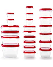 Rubbermaid - 2063704 Rubbermaid Easy Find Vented Lids Food Storage Containers, Set of 21 (42 Pieces Total), Racer Red