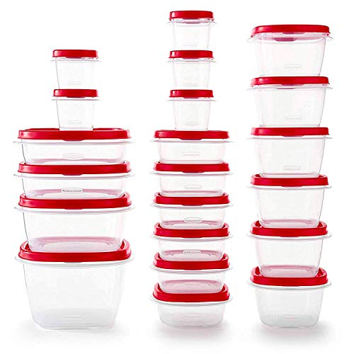 - Rubbermaid 2063704 Easy Find Vented Lids Food Storage Container, 42pc New, Racer Red