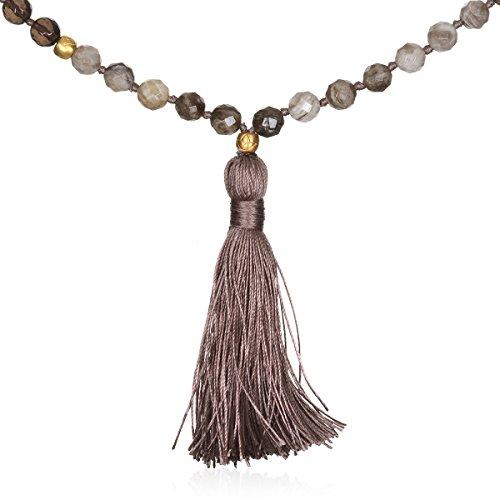 Gold Smokey Quartz Necklace - Satya Jewelry Silver Leaf Agate & Smokey Quartz Gold Lotus Tassel Mala Necklace, 42