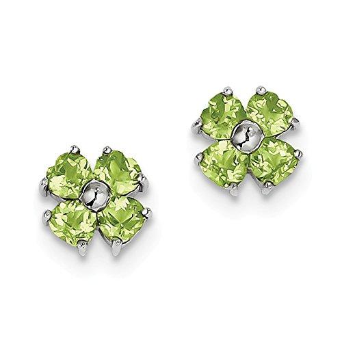 - Mia Diamonds 925 Sterling Silver Solid Rhodium Heart Peridot Flower Post Earrings (9mm x 9mm)