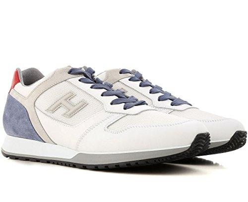 Hogan Sneakers Uomo H321 In Camoscio Tessuto E Pelle Mod. Hxm3210y851ii7940f Bianco Blu E Rosso 8
