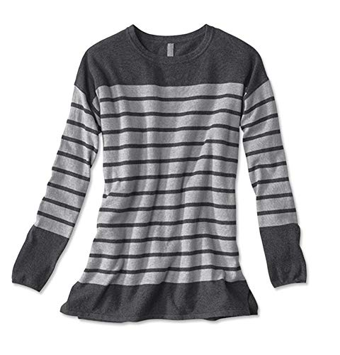 Orvis Women's Cotton/Cashmere/Silk Striped Tunic, Charcoal, X Large ()
