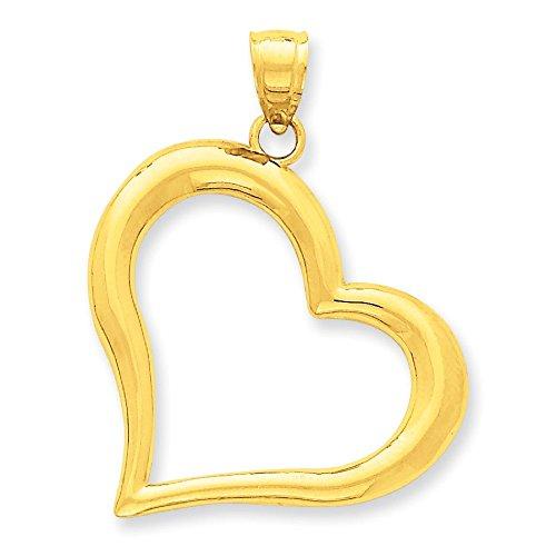 Poli 14 Carats Pendentif en forme de cœur-Dimensions :  28,6 x 36.6 mm-JewelryWeb