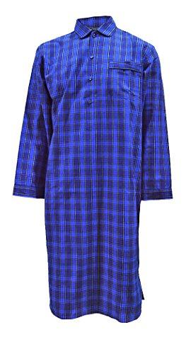 Herren Luxus-Nachthemd, 100% Baumwolle, blau kariert