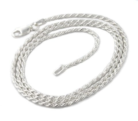 2mm Sterling Silver Diamond-Cut Rope Chain Necklace 30